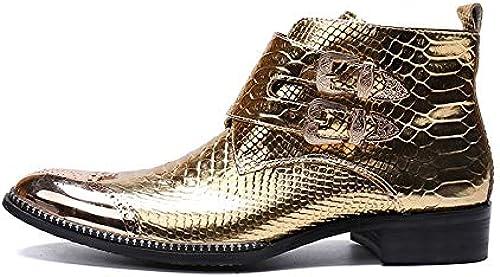 LOVDRAM Chaussures en Cuir pour Hommes Mode Luxe Hommes Bottes en Cuir Véritable Bottes pour Hommes Italien Italien Robe Habillée Chaussures à Double Boucle Cowboy Botte