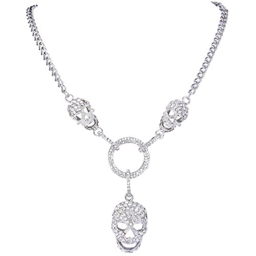 EVER FAITH 3 Skull Circle Pendant Necklace with Clear Austrian Crystal