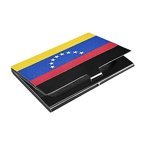 Portatarjetas de acero inoxidable con bandera de Venezuela, titular de la tarjeta de crédito de cuero sintético, para hombres y mujeres