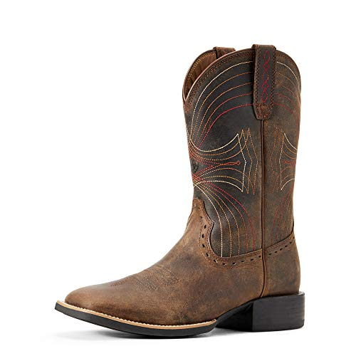 Ariat Men's Sport Wide Square-Toe Western Cowboy Boot, Distressed Brown, 10 D(M) US
