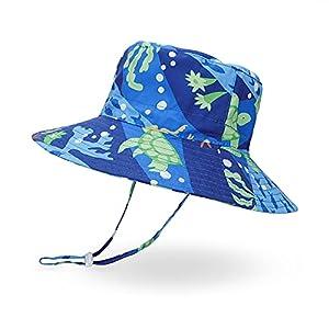 LACOFIA Sombrero de Sol bebé Gorro Verano para niños Sombrero Playa de ala Ancha Proteccion Solar para niños con Correa Ajustable para la Barbilla Tortuga Azul 6-12 Meses