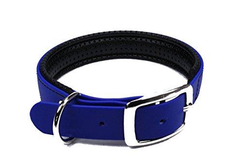 LENNIE BioThane Halsband, gepolstert, Dornschnalle, 25 mm breit, Größe 44-52 cm, Blau, Aufdruck möglich