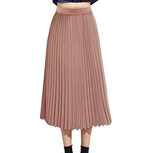 TEERFU Womens Ladies Summer Flared Pleated Skirt A-line Midi Skirts Pink XL