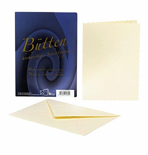 Rössler 20241940 - Bütten - Doppelkarten A6, 10 Karten/ 10 Hüllen, ivory