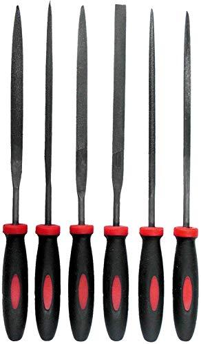 Werkzeyt Mini-Feilensatz 6-teilig - Geeignet für sämtliche Metalle - 100 mm Feilenlänge - 2-Komponenten-Griffe - Hochwertige Stahlklingen/Rundfeile/Flachrundfeile/Flachstumpffeile / B20206