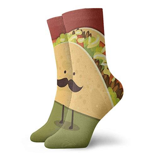 NA Mexicaanse Taco met snor gezicht nieuwigheid bemanning sokken atletische sokken kousen 30CM