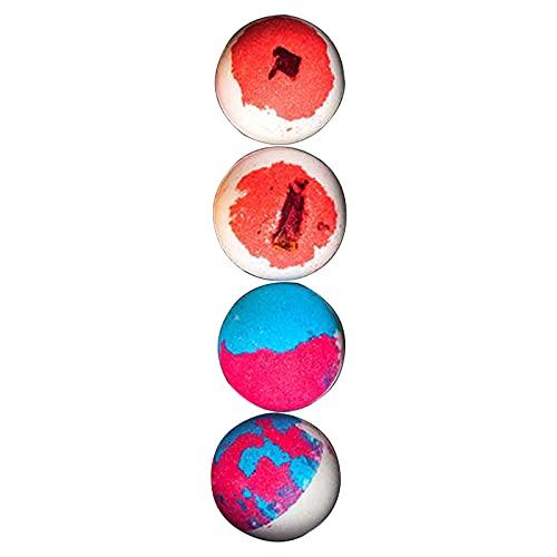 perfeclan Kit de bombas de baño, bolas de baño de burbujas coloridas, hecho a mano para baño de burbujas y spa, regalo de cumpleaños para mujeres, regalo para - 4 piezas en una caja