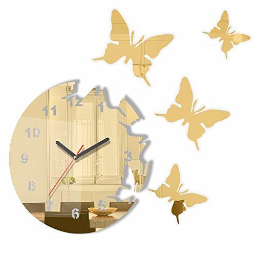 FLEXISTYLE Moderno Reloj de Pared con diseño de Mariposa y Espejo Dorado, Redondo, 30 cm, 3D DIY, salón, Dormitorio, habitación Infantil
