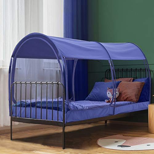 """Leedor Mosquito Net Bed Tent Canopy Indoor Tent Privacy Bed Fort Dream Tent for Kids or Adult Navy Twin 75 X 39 X 47H"""" (Mattress Not Included)"""