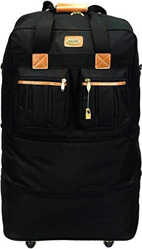 40' Black Large Rolling Wheeled Duffel Bag Spinner Suitcase Duffle Bag Luggage