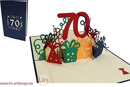 LIN17271, POP UP Karte 3D Glückwunschkarte Geburtstagskarte 70. Geburtstag 70 Jahre, blau, N25