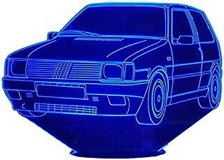 FIAT UNO 1 Turbo, Lampada illusione 3D con LED - 7 colori.