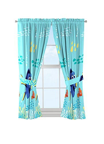 Disney Pixar Finding Dory 'Swim Fins' Blue Microfiber Curtains with Tie Backs 4 Piece Set
