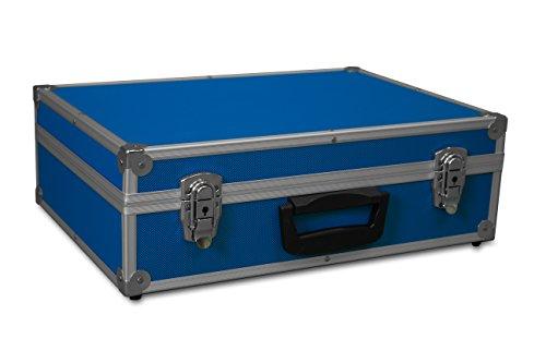 GORANDO® Transport-Koffer in blau mit Aluminiumrahmen für Werkzeuge, Kamera, Messgeräte | Schaumstoff-Auskleidung | 10kg belastbar | 440x300x130mm