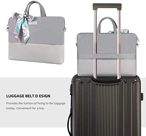 Kamlui Laptop-Tasche 13.3 Zoll - Tasche PU Frauen Notebook-Tasche Computer Schultertaschen (Grau)