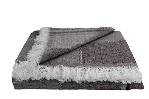 Desconocido Colcha Multiusos para Sofa, Manta Foulard, Plaid, cubrecama. (Gris y Negro, 230x290)