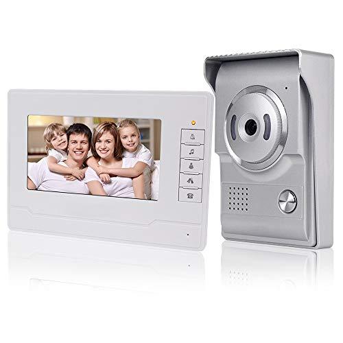 KDL Nuovo Design Videocitofono interno casa Smart Home Video Citofono 7inch Video citofono campanello Telefono, Impermeabile Telecamera esterna con monitor da 7 pollici per Villa (1 Monitor)