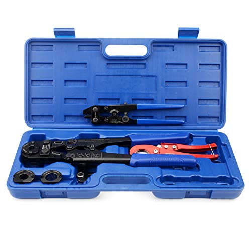 IWISS F1807 Copper Ring Crimping Tool Kit for 3/8,1/2,3/4,1-inch- Free Removal Tool& Pex Pipe Cutter&Gauge- For All US F1807 Standards