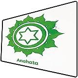 Tappetino per mouse da gioco [600x300 x 3 mm],Chakra Decor, ruota Anahata con motivo a stella in opera grafica etnica tradizionale centrale, verde Base antiscivolo 45x45cm