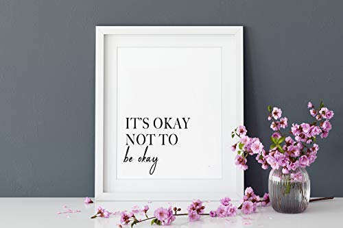 Its Okay not to be Okay its ok Quote Wall Print Mental Health Awareness Wall Decor Wall Art Home Decor Inspirational Quote Framed Wall Art,12' Wooden Decor Sign