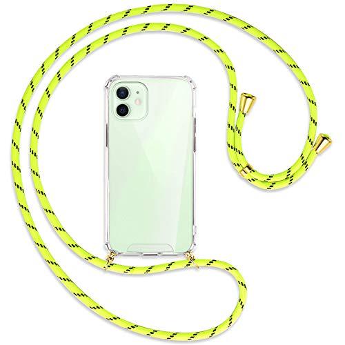 mtb more energy® Collana Smartphone per Apple iPhone 12, 12 PRO (6.1'') - Strisce Giallo Neon/Oro - Custodia indossabile per Collo - Cover a Tracolla con cordina