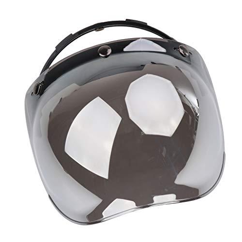 Toygogo Visera de Casco Abatible con 3 Broches de Burbuja para Media Cara/Cara Abierta Visor de Lente UV Parabrisas