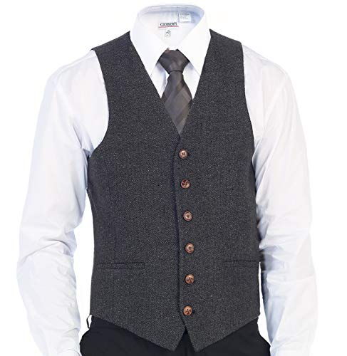 Gioberti Men's 6 Button Slim Fit Formal Herringbone Tweed Vest, Herringbone Charcoal, Large