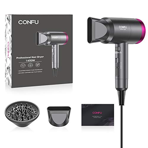 Ionic Hair Dryer, 1600W Portable Lightweight Blow Dryer, Fast Drying Negative Ion Hairdryer Blowdryer, 3 Heat Settings