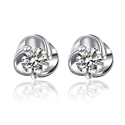 Daesar Pendientes de Oro Blanco 18 Kilates Mujer Flor con Diamante Blanco 0.05/0.1ct