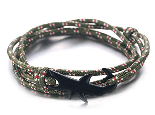 "HALUKAKAH ● Sail ● Men's Nylon Rope Cord Bracelet Multilayer Amazon Green Handmade Black Shark Clasp 8.26""/21cm with Free Giftbox"