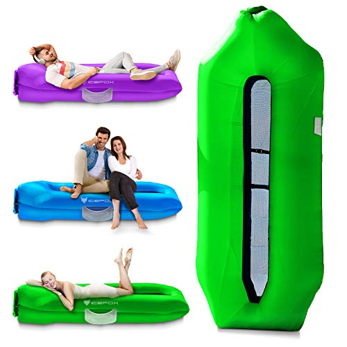 Icefox Inflatable Couch, Pool Floats, Inflatable Lounger& Anti-Air Leaking Design-Ideal Air Sofa, Cool Inflatable Beach Chair for Hiking Gear & Music Festivals