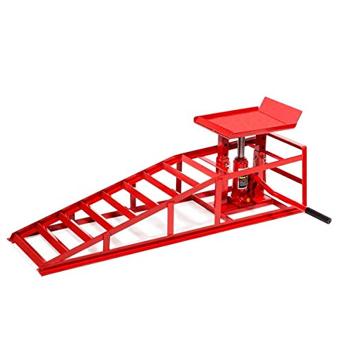 Stark Auto Ramp Low Profile Car Lift Service Ramps Truck Trailer Garage Automotive Hydraulic Lift Repair Frame 1pc (Red)