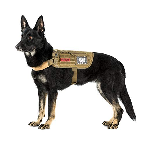 OneTigris Apollo 09 Taktische Hundeweste Hunde Harness MOLLE Verstellbar Hundegeschirr für Service Hunde Haustier Hund (Coyote Braun) |MEHRWEG Verpackung