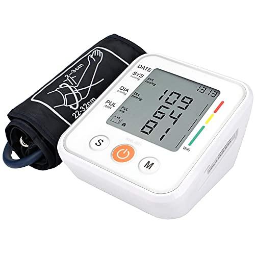 SJTL Tensiómetro de Brazo Digital, Monitor de Presión Arterial con Pantalla LED retroiluminada, Deteccion de Irregular Arritmia, Brazalete, 2x99 Memoria,Tamaño Ligero Portátil