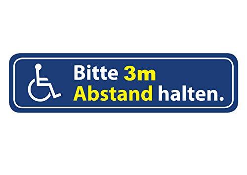 Aufkleber Rollstuhl Bitte 3m Abstand halten Wetterfest Waschstrassenfest und UV-Beständig