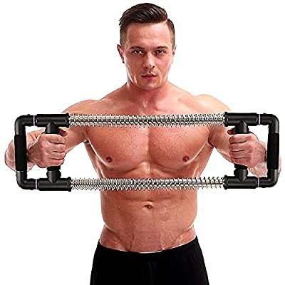 GoFitness Push Down Bar Machine - Chest Expander at Home Workout Equipment - Portable Spring Resistance Exercise Gym Kit for Home, Travel or Outdoors (Black, 50LBS (Beginner))
