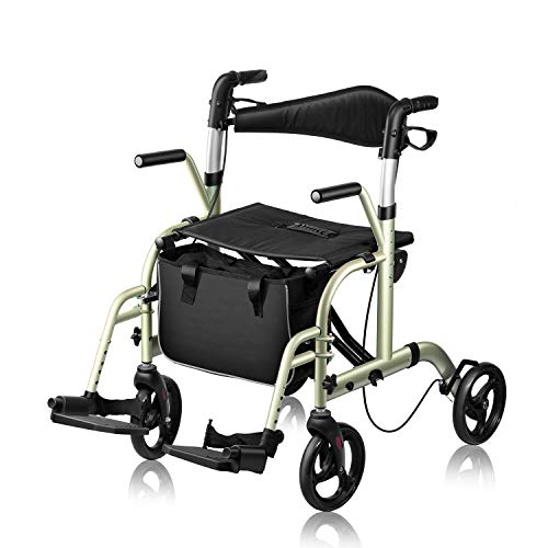 WINLOVE 2 in 1 Rollator Walker Wheelchair for Seniors and Adults Transportation Foldable Compact Stable Lightweight Alumium with Backrest Rolling (Champagne)
