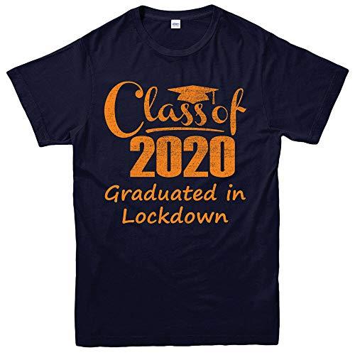 Quarantine 2020 T-Shirt, Class of 2020 Graduated in Lockdown Funny Gift TopShort Sleeve TopBlueXL