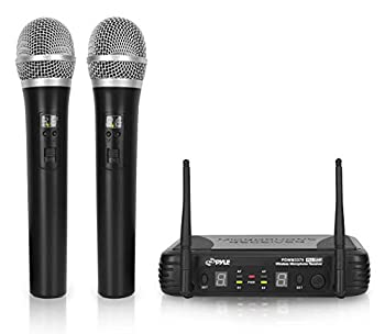 Professional Wireless Microphone System - Dual UHF Band Wireless Handheld 2 MICS With 8 Selectable Frequency Channels Independent Volume Controls AF & RF Signal Indicators - Pyle PDWM3375