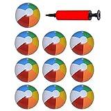10 Stück Set Aufblasbarer Wasserball, Badeball Schwimmball mit Luft, Pumpe Strandball, Bunt Farben für Sommer im Freien und Schwimmen Party Supplies, 25cm/9.8 Inches
