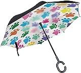 Paraguas invertido con huella de color arcoíris,mango en forma de C,a prueba de viento,a prueba de rayos UV,para viajes al aire libre,paraguas reversible para coche
