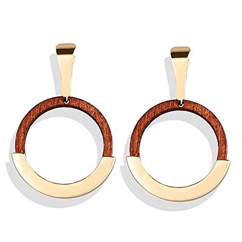 Larga borla Original Pendientes hechos a mano Retro cuentas de madera Concha Línea de oreja-Q