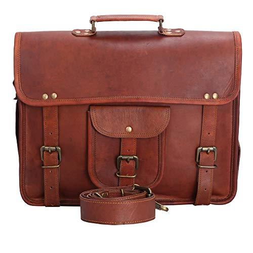 Leather Laptop Messenger Bag for Men and Women Daily Office Briefcase File Carry Bags 38x28 cm, Brown