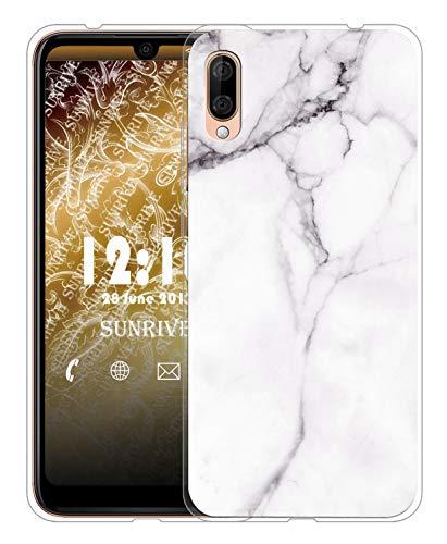 Sunrive Für Wiko View 3 Lite Hülle Silikon, Transparent Handyhülle Schutzhülle Etui Hülle für Wiko View 3 Lite(TPU Marmor Weißer)+Gratis Universal Eingabestift MEHRWEG
