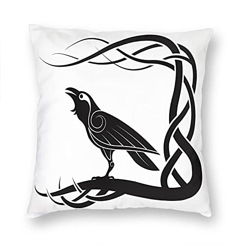 VERSUSWOLF Pillow Covers Black Celtic Pagan Raven White Crow Mythology Couch Throw Pillow Cover Square Soft Pillow Cases 12X12