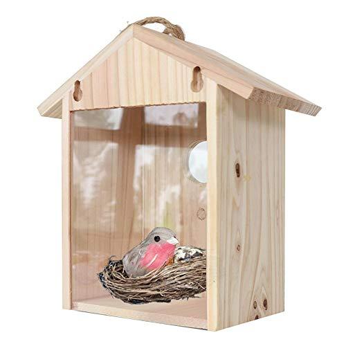 dewdropy - Comedero para pájaros, ventana, nido para exterior e interior, imitación de casa de madera redonda