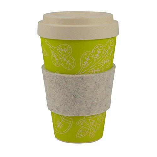 ebos Bambus Coffee-to-Go-Becher   Schraubdeckel, Griffring aus Wollfilz, Kaffee-Becher, Trink-Becher, wiederverwendbar, umweltfreundlich, spülmaschinengeeignet, Verschiedene Designs (Glücksblatt)