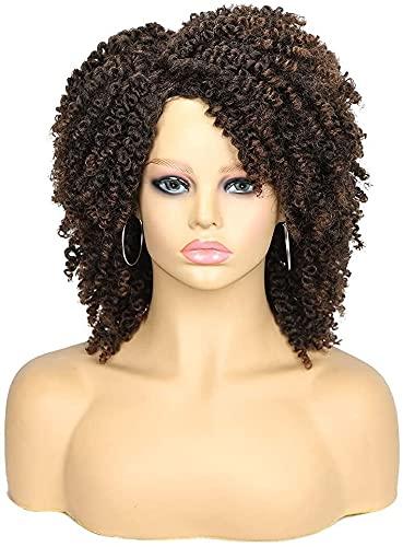 Perruques courtes crépues et bouclées marron ombré - Perruque afro bouclée résistante à la chaleur - Perruque complète pour femme noire