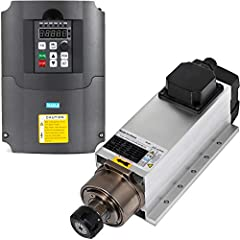 【PRODUCT DETAILS】- The 4KW air cooled spindle motor features 4KW, 18000rpm, with ER25 (6 mm) collet. And the 5HP 4KW variable frequency drive VFD uses PID control, advanced calculous PID closed-loop arithmetic, quick responding speed and high suitabi...