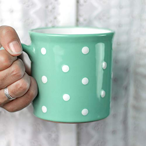 Handmade Teal Blue and White Polka Dot Ceramic Extra Large 17.5oz/500ml   Hot Chocolate, Coffee, Tea Mug, Cup with Handle Unique Designer Pottery for Tea Lovers by City to Cottage